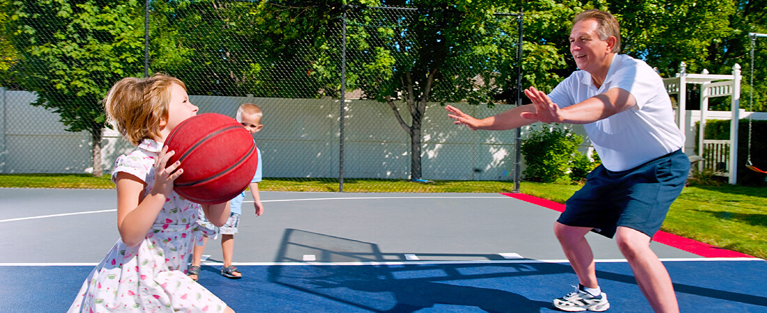Family basketball at Cherry Valley Lakes Resort