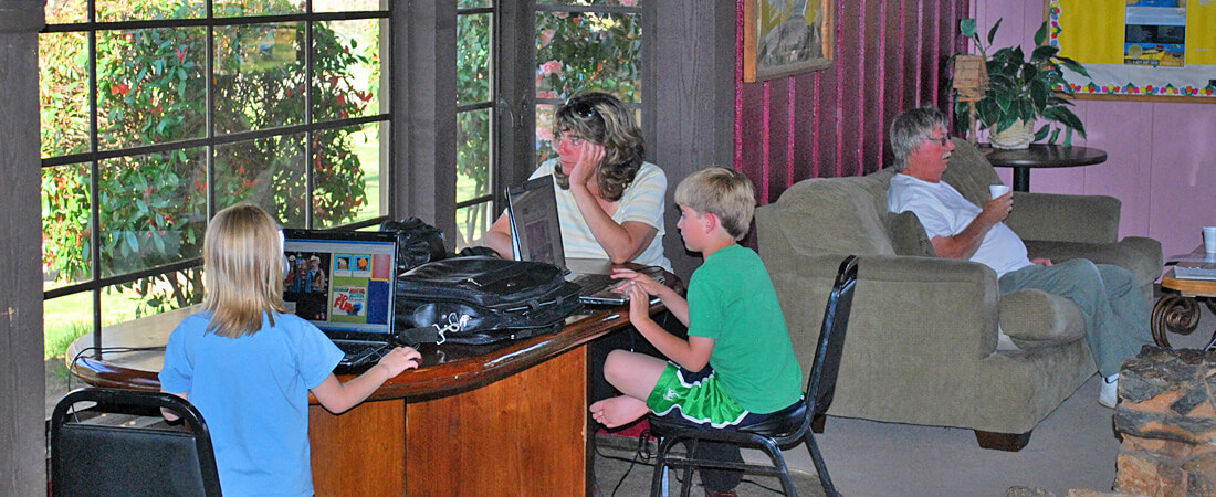 Surfing the web at the Cherry Valley Clubhouse